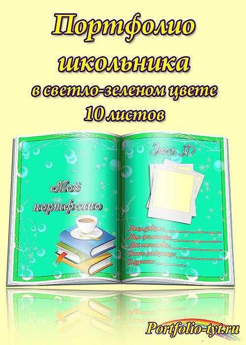 Портфолио школьника в светло зеленом цвете